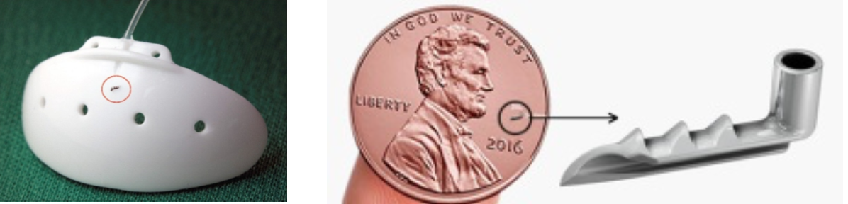 Το istent σε συγκριση με το παραδοσιακό εμφύτευμα Baerveldt και σε σύγκριση με το νομισμα 1 cent του δολαρίου